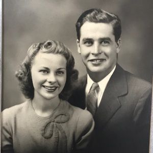 Handsome couple vintage stand up photo